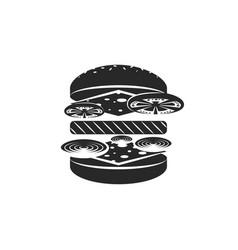 hamburger logo black and white emblem vector image