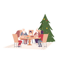 happy family sitting at dining table together vector image