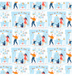 Happy people decorated interior seamless pattern vector