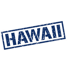 Hawaii blue square stamp vector