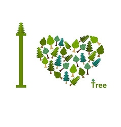 I love trees Symbol heart of trees and firs vector