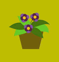 icon in flat design violet in the pot vector image