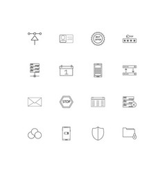 internet technologies simple linear icons set vector image
