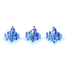 Isometric concepts a big businessman running vector