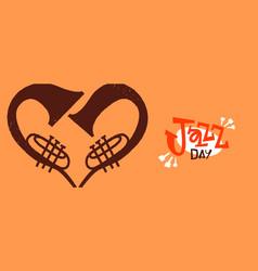 Jazz day trumpet heart shape love concept banner vector