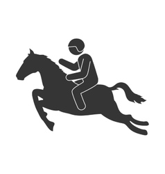 Jockey man horse riding vector