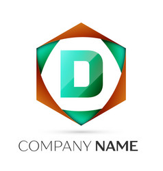 Letter d symbol in the colorful hexagonal vector