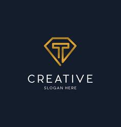 Letter t diamond luxury creative logo vector