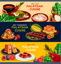 Malaysian cuisine and asian food banner set vector