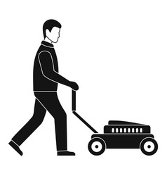 man with lawn mower icon simple style vector image