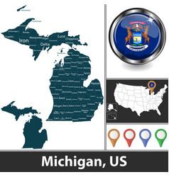 map michigan us vector image