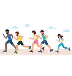 men women and children in sports clothes run vector image