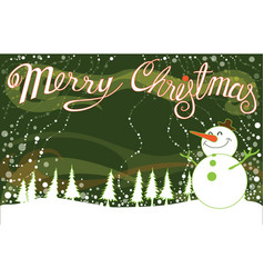 Merry christmas background landscape green and vector
