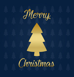 merry christmas golden tree vector image