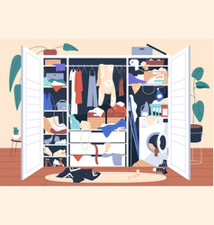Messy wardrobe full of untidy clothes piles mess vector