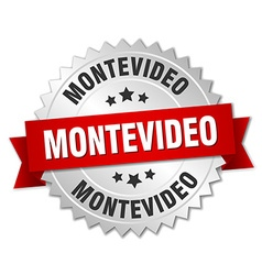 Montevideo round silver badge with red ribbon vector