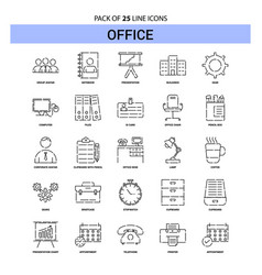 Office line icon set - 25 dashed outline style vector