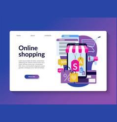 online shopping landing page template vector image