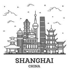 outline shanghai china city skyline with historic vector image