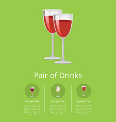 pair drinks red wine poster champagne glasses vector image