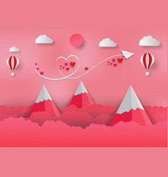 Paper art style of valentine with balloon vector