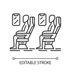 Passengers at plane salon linear icon vector