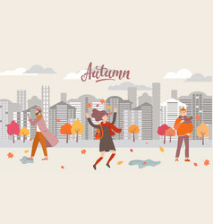 People in autumn city vector
