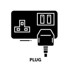 Plug icon black sign with editable strokes vector