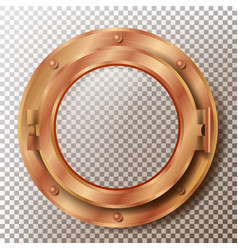 porthole round brass bronze copper vector image