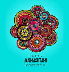 poster for festival of happy krishna janmashtami vector image