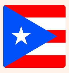 Puerto rico square flag button social media vector