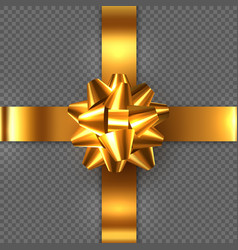 realistic glossy golden bow with ribbon vector image