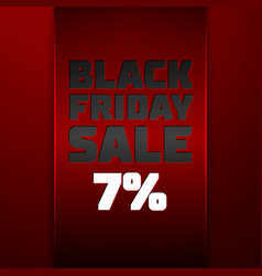 Red ribbon with black friday sale seven percent vector