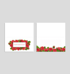 red rose greeting card with vector image