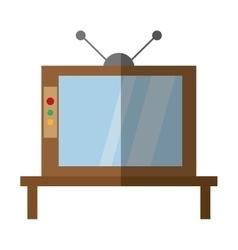 retro television antenna wooden shadow vector image