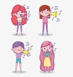 Set beauty girls play trumpet instrument and vector