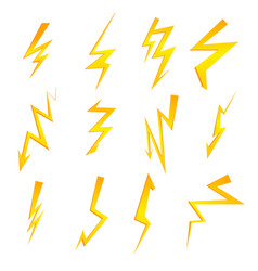 set cartoon isolated lightnings on black vector image