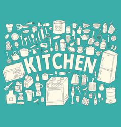 set hand drawn icons kitchen vector image vector image