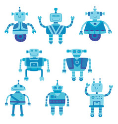 set of different color cute robots vector image