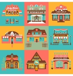 Set of Markets and Local Shops Buildings vector