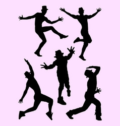 silhouette of male dancer 02 vector image