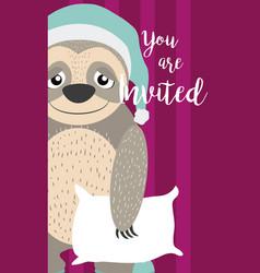 Sloth cute animal cartoon invitation card vector