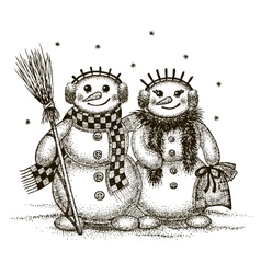 Snowmen boy and girl vector image