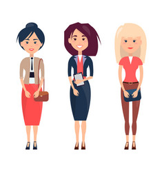 Three women in various dresses vector