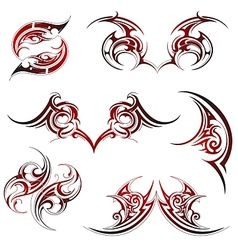 Tribal fire flame tattoo set vector image