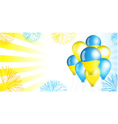 Ukraine independence day balloons flag background vector