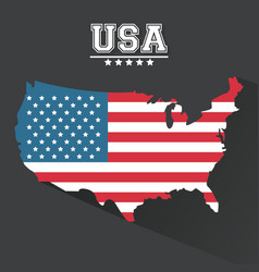 usa flag map landmark dark background vector image