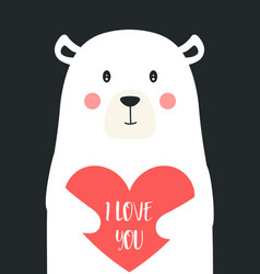 valentines card with cute polar bear and heart vector image