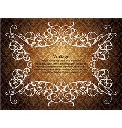 vintage floral frame with damask background vector image