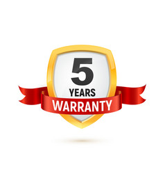 warranty 5 years isolated label on white vector image